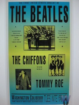 poster advertising the first Beatles concert in the US